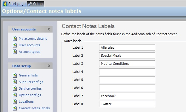 Contact Notes Labels