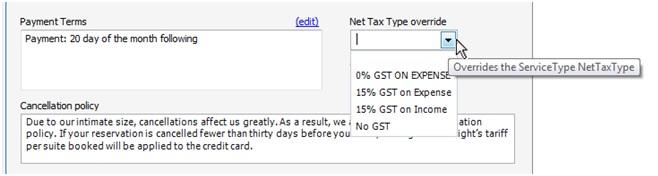 Details tab Tax info