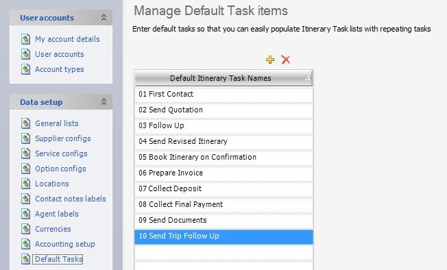 Manage Default Tasks