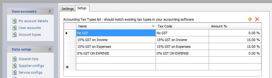 Setup Default Tax Types