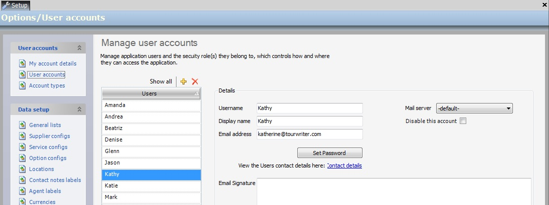 TourWriter User Email Settings