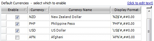 Selecting Currencies