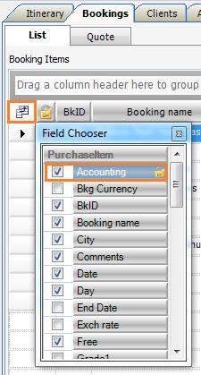 Accounting - Bookings - List - Feild Chooser