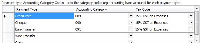 Accounting Software - Payment-type Accounting Catergory Codes