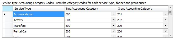 Accounting Software - Service-type Accounting Catergory Codes