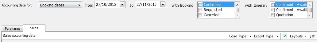 Accounting data toolbar