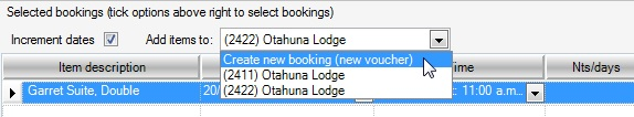 Create new booking