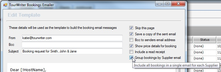 Group Bookings in Emailer
