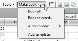 Make Booking Drop Down Options
