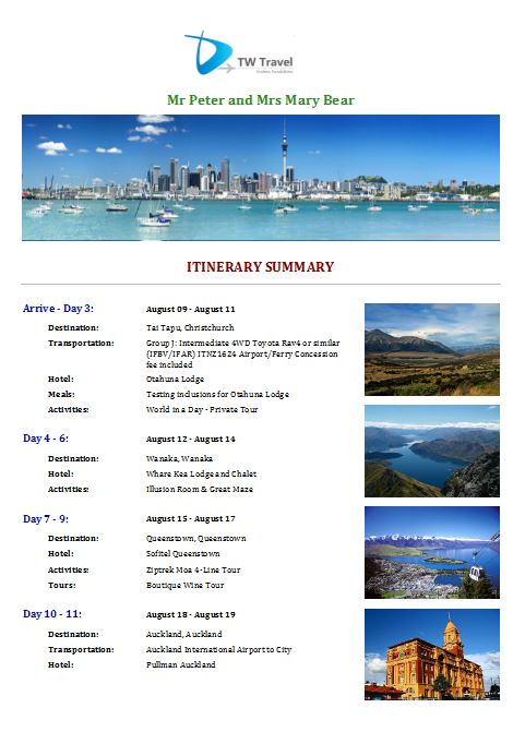 Itinerary Template 5 cover page